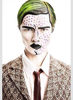 Male version of pop art/cartoon makeup.