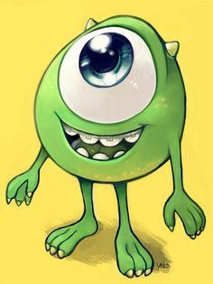 Monsters University - Little Mike Wazowski by Yoko Mike From Monsters Inc, Monsters Ink, Disney Monsters, Cute Disney Drawings, Cool Drawings, Monster E, Prison Drawings, Studio Ghibli Films, Dibujos Toy Story