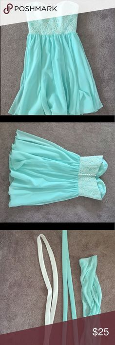 Mint blue strapless dress! Size 8 (fits like a 4) I'm 5'2 and the length runs to my knee! Mari Lee Dresses Strapless