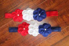 Felt Flower headband-Baby headband-Infant Headband - Toddler Headband -Newborn headband-Fourth of July headband- 4th of July on Etsy, $8.50