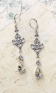 Crystal Glass Earrings Vintage Glass Antique
