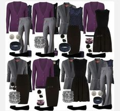 Office outfits purple, gray and black mix and match