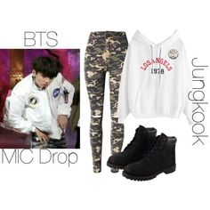BTS MIC Drop Jungkook inspired outfit by melaniecrybabyz on Polyvore featuring polyvore, fashion, style, WithChic, Timberland and clothing