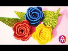 This is a tutorial video on how to make realistic and easy foam sheet rose Glitter Flowers, Paper Flowers Diy, Handmade Flowers, Felt Flowers, Foam Sheet Crafts, Foam Crafts, Fairy Crafts, Flower Crafts, Flower Step By Step