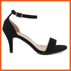 c11247337b0 Essex Glam Women s Low Heel Peep Toe Barely There Ankle Strap Black Faux  Suede Stiletto Sandals 5 B(M) US - Sandals for women ( Amazon Partner-Link)
