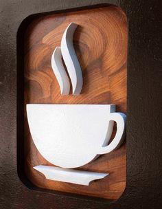 CAFEZINHO Premium Trio - 3 Quadros decorativos para harmonizar as paredes da sua sala ou escritório, feitos à mão. - Com desenho criativo de Xícara de café, grão e bule esculpidos em relevo no mdf, pintura acrílica e esmalte. Marrom e Preto. - Medidas de cada quadro: Largura: 20 cm Comp...