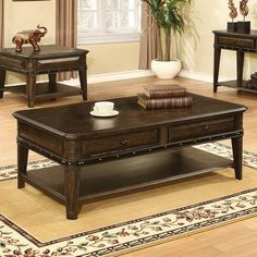 Enhance your décor with the elegant Coaster Furniture Espresso Wood Coffee Table that brims with traditional appeal. Its espresso, wire-brushed. Coffee Table And Side Table Set, Coffee Table With Drawers, Black Coffee Tables, Oak Coffee Table, Black Side Table, White Side Tables, Cool Coffee Tables, Coffee Table Design, White Coffee