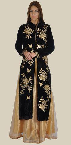 Black Silk-Velvet Birds- Floral Tilla Embroidered Jacket With Skirt