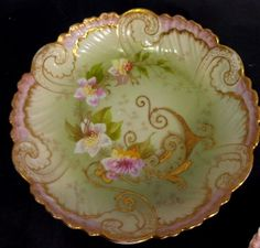 Antique Limoges France [3] porcelain plates [1] deep dish Gold Gilt Hand Painted in Pottery & Glass, Pottery & China, China & Dinnerware | eBay!