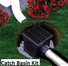 For backyard lower downspout? Ideal for yard / area drains to collect surface water while minimizing the amount of debris entering the system. Kits includes: NDS Two Hole Catch Basin NDS Black Plastic Grate NDS Pl Backyard Projects, Outdoor Projects, Backyard Ideas, Landscape Drainage, Drainage Solutions, Drainage Ideas, Drainage Ditch, Diy Terrasse, Casas Containers