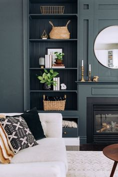 37 Gorgeous Living Room Shelves Decorations Ideas To Try Asap If you need living room décor there are dozens of items that will work perfectly for your living room. Dark Walls Living Room, Living Room Shelves, Living Room Green, Living Room With Fireplace, My Living Room, Living Room Interior, Home And Living, Built In Cupboards Living Room, Modern Living Room Colors