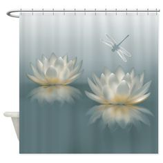Lotus and Dragonfly Shower Curtain on CafePress.com