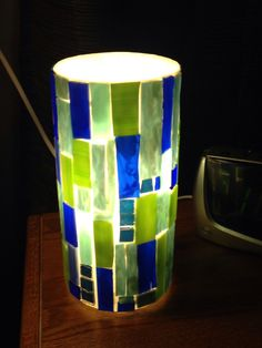 Stained Glass Lamp   This accent light can by MosaicsofGlass