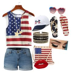 """""""Super Patriotic Outfit"""" by breannagutierres on Polyvore featuring LE3NO, Havaianas, Under Armour, Eloquii, TWIG & ARROW and Lime Crime"""