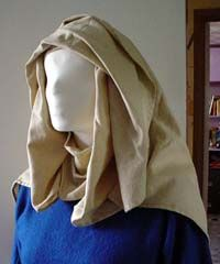 10th century European and Anglo-Saxon veils. Round veil folded back almost in half.