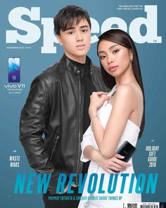 On the cover of Speed Green Tech issue are Maymay Entrata and Edward Barber with the Vivo Filipino Models, Barber, Revolution, Celebs, Movie Posters, Tech, Cover, Green, Fashion