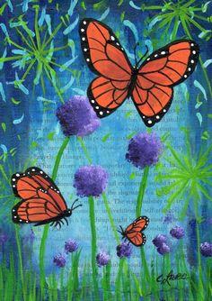 "5""x7"" Original Acrylic Painting, 3 Butterflies & Flowers, on Flat Panel Canvas #IllustrationArt"