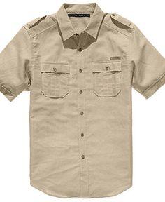 Sean John Shirt, Short Sleeved Linen-Blend Shirt - Shirts - in white, red, khaki, black, and grey - $58.00 @Macy Shortell