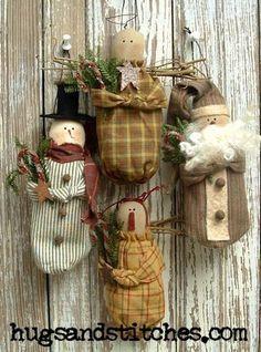 Primitive snowman, angels and Santa