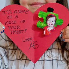 Kids - they& always have a piece of your heart! Learn how to make this adorable puzzle piece kid Valentine card craft that loved ones will treasure always! Valentines Bricolage, Kinder Valentines, Valentines Presents, Valentines Day Decorations, Valentines Diy, Valentine Sayings For Cards, Printable Valentine, Valentine Wreath, Valentine's Day Crafts For Kids