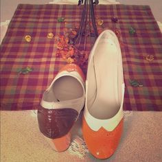 VINTAGE COLOR-BLOCK HIGH HEELS-CUTE! These shoes are adorable! I bought them thinking they were a 8.5, but they are an 8. I wore them once tho, so they can fit an 8.5 too. Very cute & fallish, has brown, white, orange, & gray. So wear, see pics. Nothing noticeable or bad! Snag these now, I share, I bundle to save u $$!! Thanks for looking!!  Twenty-one Shoes Heels