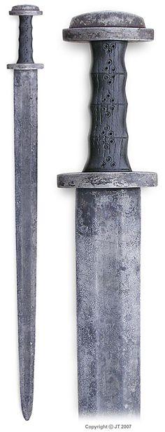 """A patinated merovingian period sword from Finland. Pattern welded blade, crossguard & pommel of wrought iron, grip is of black oak."" kp-art.fi"