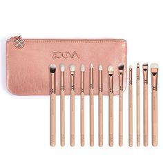 Zoeva 12 pieces Rose Golden Complete Eye Set Eyeshadow Eyeliner Blending Pencil Makeup Brushes
