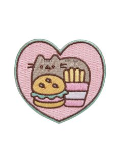 PUSHEEN FOOD HEART IRON-ON PATCH | The way to Pusheen's heart is through their fluffy grey tummy. Buy this iron-on kawaii cat some fries and a burger to prove your love. Just don't ask them to share with any-paw-dy else.