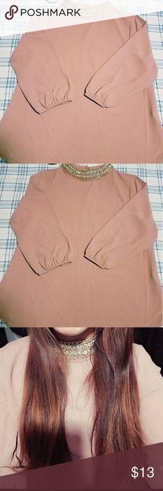 MOA MOA Blouse Medium Size Embellished Neck line Nude/ Rose Brown  Tan Brown Moa Moa Tops Blouses
