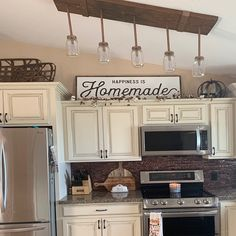 above kitchen cabinet decor ideas Happiness is Homemade / Wood Sign / Kitchen Sign / Homemade / Above Cabinet Decor, Decorating Above Kitchen Cabinets, Farmhouse Kitchen Cabinets, Kitchen Redo, Home Decor Kitchen, Home Kitchens, Kitchen Ideas, Cabinet Ideas, Kitchen Inspiration