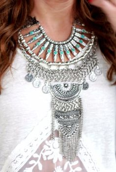 Coachella Gypsy Statement Necklace Ethnic by TrueRebelClothing