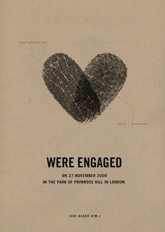 Such an original idea for a wedding invite! Fingerprint wedding announcement via Brooklyn Bride