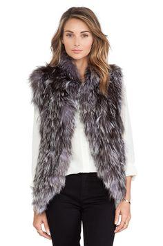 Adrienne Landau Knit Silver Fox Fur Vest in Natural