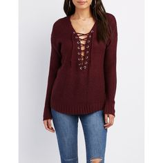 Charlotte Russe Lace-Up Pullover Sweater ($21) ❤ liked on Polyvore featuring tops, sweaters, port royale, lace up sweater, chunky knit sweater, red sweater, red v neck sweater and v neck knit sweater