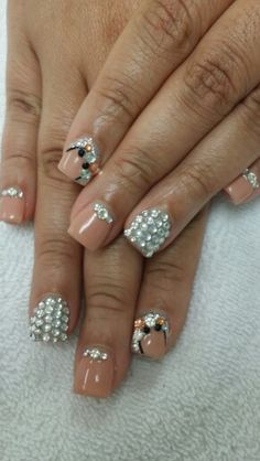 Neutral with Bling Bling Nails...@ Beaumont Top Nails & Spa