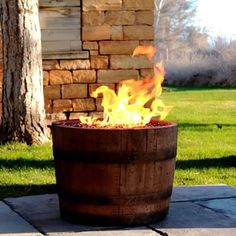 Wine Barrel Fire Pit - Oil Rubbed | WoodlandDirect.com: Outdoor Fireplaces: Fire Pits - Gas #LearnShopEnjoy wine cellar patio (walkout basement)