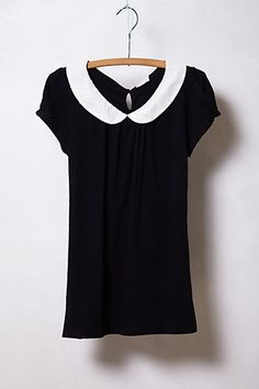 Novelty Collar Tee #anthropologie. The kinda shirt I'd wear with a skinny black skirt and heels. Or shorts and sandals....