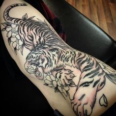 40 Gorgeous Tiger Tattoo Meanings & Design For Men and Women Check more at http://tattoo-journal.com/40-stunning-tiger-tattoos/