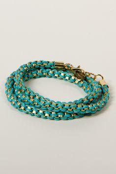 Entwined Wrap Bracelet in Aqua