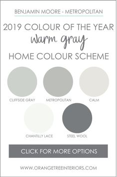 Benjamin Moore 2019 Colour of the Year Paint Colour Schemes This paint colour scheme was created with your whole house in mind. The paint colours in this palette coordinate beautif. House Color Palettes, Paint Color Palettes, Paint Color Schemes, Color Schemes With Gray, Color Palette Gray, Home Color Schemes, Exterior House Colors Combinations, Kitchen Colour Schemes, Bedroom Paint Colors