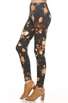 e99a1e78da31c Floral fitted leggings. 95% Rayon 5% Spandex. Black color. Floral Leggings
