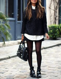 SAVE YOUR FLAT BOOTS FOR MINISKIRTS There's quite possibly nothing we love more than serving a lotta leg in opaque tights. It's the perfect opportunity to bust out a tough black ankle boot on the bottom.