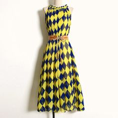 Retro is all the rage today. Try on our vintage-inspired polyester pleated chiffon sleeveless ankle-length dress with belt. One Size (4-6). Under $50 at www.boho-mojo.com