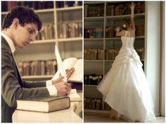 Bride and groom in the library Big Day, Groom, Wedding Day, Wedding Inspiration, Bride, Beautiful, Pi Day Wedding, Wedding Bride, Bridal