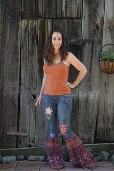 Plaid dress jeans with patches by BellaBottomJeans on Etsy, $80.00