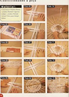 Waste basket made out of newspapers Newspaper Basket, Newspaper Crafts, Book Crafts, Diy Crafts Hacks, Diy And Crafts, Recycled Paper Crafts, Magazine Crafts, Paper Weaving, Weaving Patterns