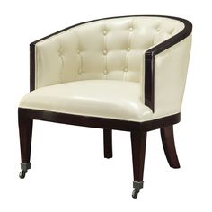 Sterling Holguin Wood & Leather Chair (Black & White)