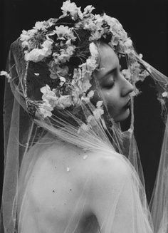 Enchanted by the ethereal, mystic femininity of a cathedral veil. Portrait Photography, Fashion Photography, Ethereal Photography, Sakura Cherry Blossom, Cherry Blossoms, Photo Vintage, Black And White Photography, Her Hair, Marie