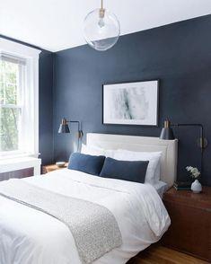 41 Cozy Blue Master Bedroom Design Ideas - Home Decor Blue Master Bedroom, Master Bedroom Design, Home Decor Bedroom, Modern Bedroom, Navy Blue Bedrooms, Dark Blue Bedroom Walls, Bedroom Furniture, Bedroom Wall Lamps, Cozy Bedroom