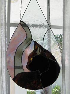 CUSTOM ORDERS: Black cat in a Raindrop door KathanStainedGlass